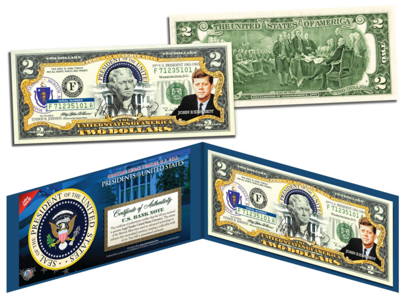 JOHN F KENNEDY * 35th U.S. President * Colorized $2 Bill US Genuine Legal Tender