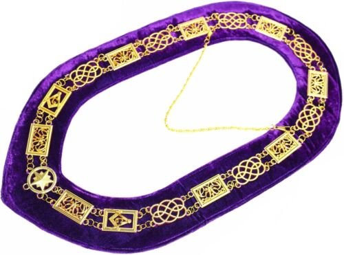 Masonic Regalia GRAND LODGE Metal Chain Collar PURPLE Backing DMR-100GP