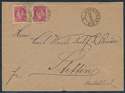 Norwegen Söpostktr No. 3 A Stempel Schiffspost Beleg 1904 nach Stettin (3564)