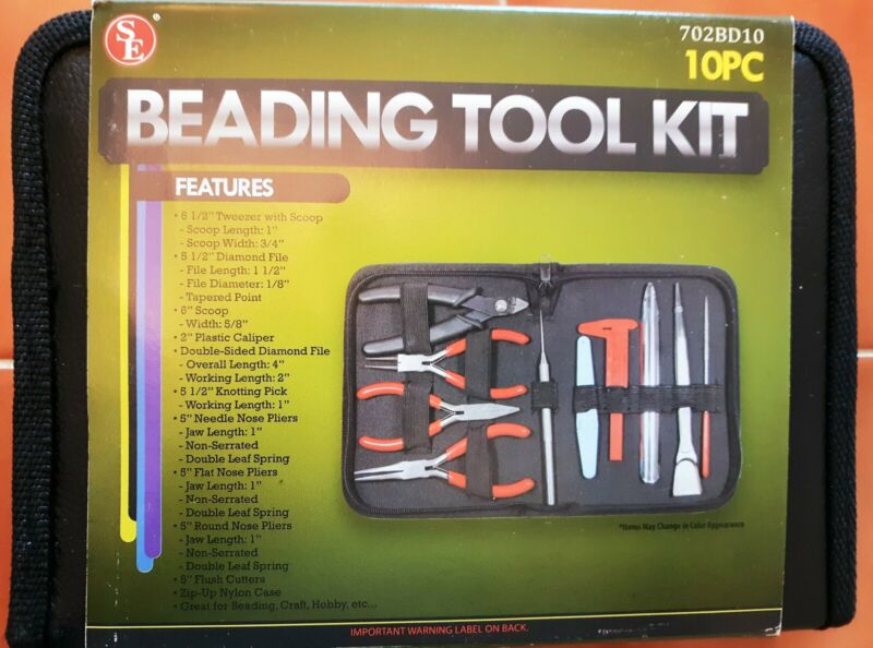 New 10 PIECE Beading Tool Kit in Case Jewelry Making Crafts Hobby