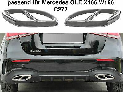 Set Chrom Edelstahl Auspuffblende Abdeckung für Mercedes GLE X166 W166 C292