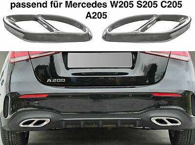 Set Chrom Edelstahl Auspuffblende Abdeckung für Mercedes W205 S205 C205 A205