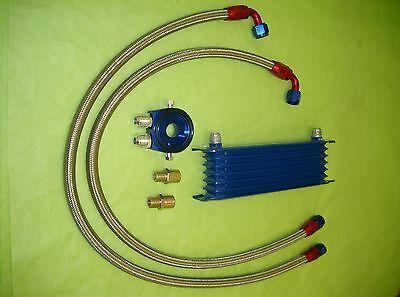 Burstflow Universal Nachrüstsatz Kit Ölkühler blau 7 Reihen AN10 Motorsport