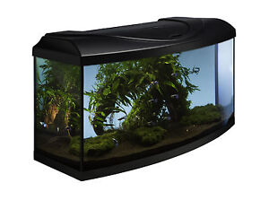 112L  Aquarium Startup Set 80 Fish Tank Profiled Diversa 80x35x40 Beech, Black