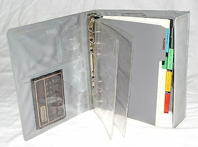Small World Greetings Gray Organizer Planner W 6 Ring Binder Calculator Ruler