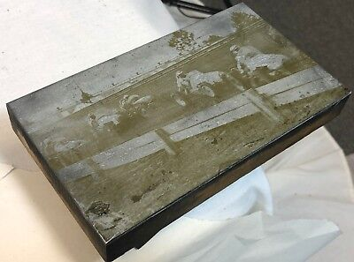 Antique 7 Terre Haute Speedway Midget Car Hard Turn Wood Printing Press Block