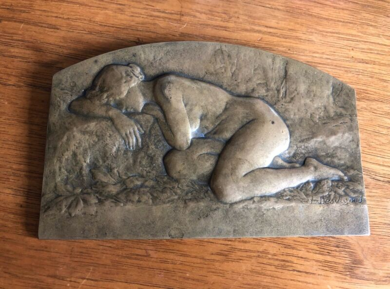 Antique French Art Nouveau Nude Bronze Plaque By Louis Desvignes 1920