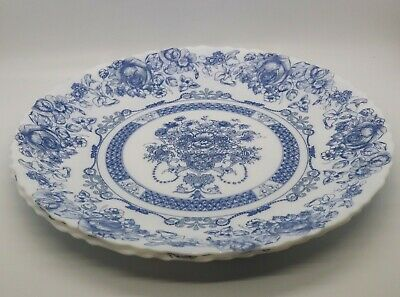"""2 Vintage French Arcopal Dinner Plates, Blue and White Honorine Pattern 10 3/4"""""""