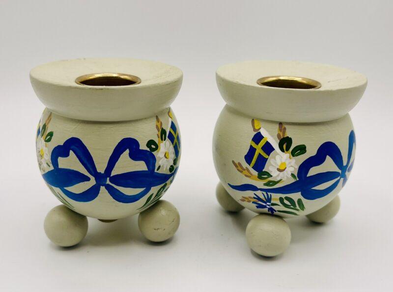 Vintage Hantverksboden Swedish Hand Painted Wood Candle Holders w/ Ball Foot