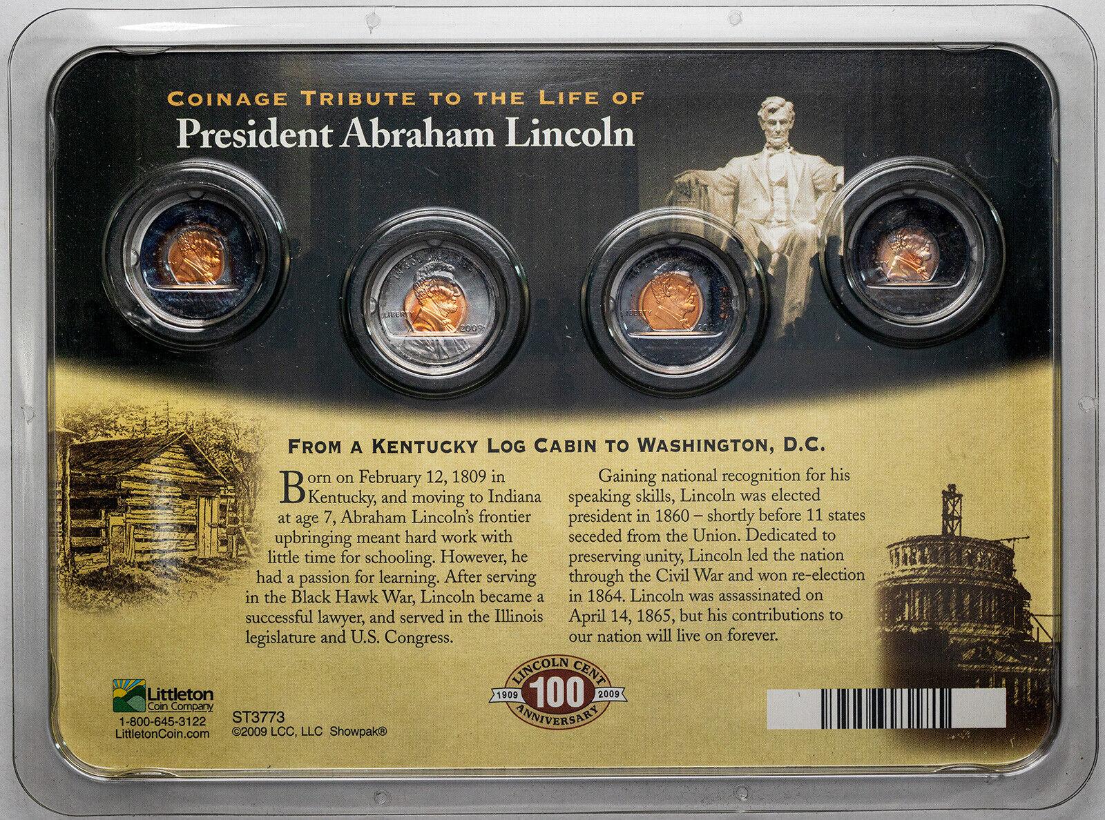 2009 LINCOLN ANNIVERSARY SET 4 COIN SET BICENTENNIAL DESIGNS GEM TONED MONSTER - $33.75