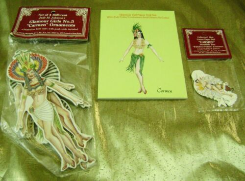 VTG PAPER DOLLS TREE ORNAMENTS LOT SHOW GIRL CARMEN by JUDY JOHNSON  shackman