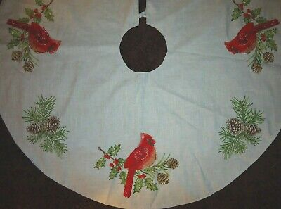 """NEW Domain RED CARDINAL Design 52"""" Holiday Christmas Tree Skirt GORGEOUS Rustic"""