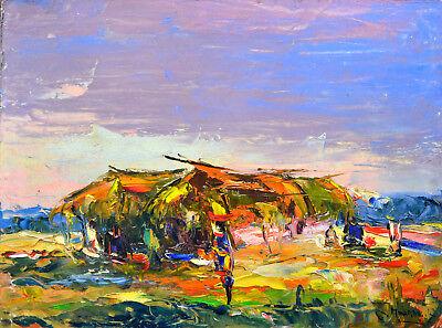 Ölbild,Afrikanische Malerei, Hütte mit Personen,60ziger Jahre,Afrika