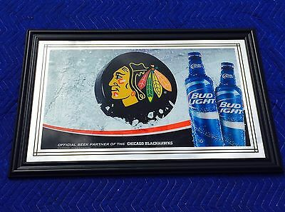 "Chicago Blackhawks Bud Light NHL Hockey  Beer Bar Man Cave Pub Mirror ""New"""