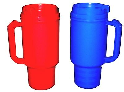 2 Coffee Cup Travel Mugs Holds 18 oz 1 ea Red & Blue Made in USA Air Insulated* (Coffee Mugs In Bulk)