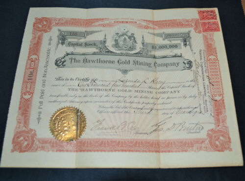 The Hawthorne Gold Mining Company 1902 antique stock certificate