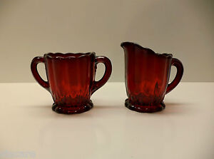 Vintage Depression Era Glass – Ruby Red Sugar Bowl and Creamer