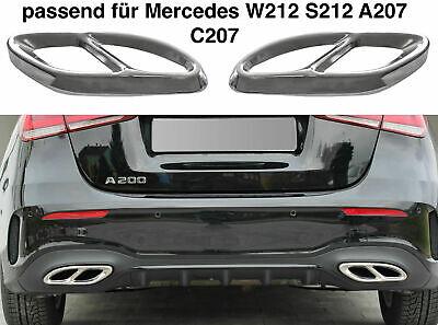 Set Chrom Edelstahl Auspuffblende Abdeckung für Mercedes W212 S212 C207 A207