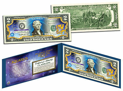 Aquarius   Horoscope Zodiac   Genuine Legal Tender Colorized U S   2 Bill