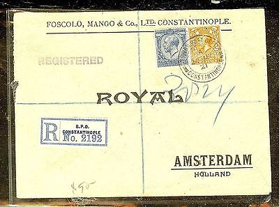 BRITISH LEVANT (P1206B) 1921 GB KGV2D+2 1/2D REG CONSTINOPLE TO HOLLAND