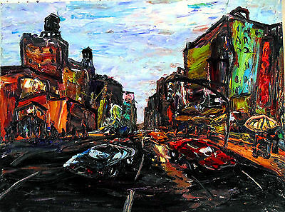 Original OIL Painting Arthur Robins NYC Cityscape street cars Times Square Urban