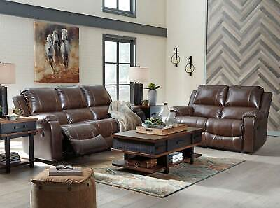 NEW Living Room Furniture Brown Leather Power Reclining Sofa & Loveseat Set IF26