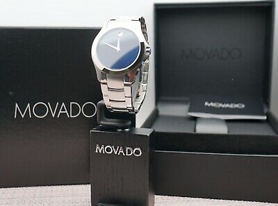 Swiss Movado Masino Navy Blue Dial Stainless Steel Model # 0606332 Men's Watch