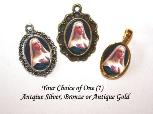 St. Rita of Cascia Mini-Medal/Add to Rosary/Choice: Antique Silver/Bronze/ Gold
