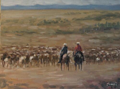Sean Wu original oil painting 12x16 on canvas board, cowboys