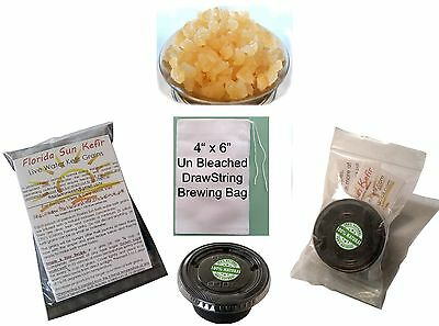 4X6 Brewing Bag   1 4 Cup Live Active Florida Organic Water Kefir Grains