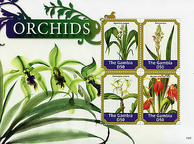 Gambia 2015 MNH Orchids 4v M/S II Flowers Flora Disa Aganisia Masdevallia