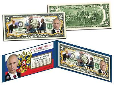 Vladimir Putin Colorized  2 Bill  Legal Tender Us Currency  President Of Russia