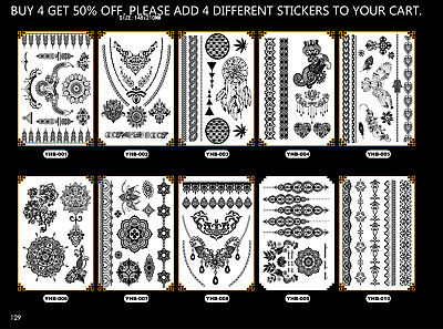 Tattoo Stickers Black Lace Temporary Tattoos for Teens&Girls Women US