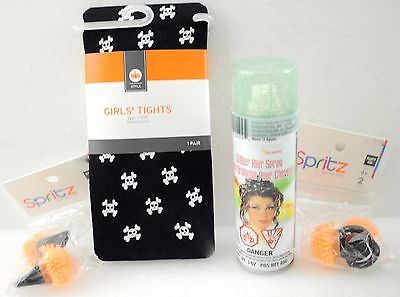 Girls Halloween Costume Tights, Hair Glitter, Light Rings