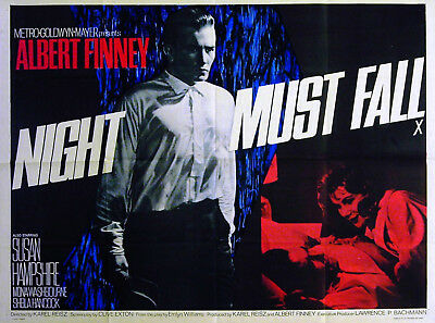 NIGHT MUST FALL 1964 Albert Finney, Susan Hampshire, Mona Washbourne QUAD POSTER