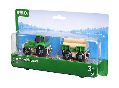 Holzeisenbahn Brio Traktor mit Holzanhänger 33799 Waggon  - neu OVP