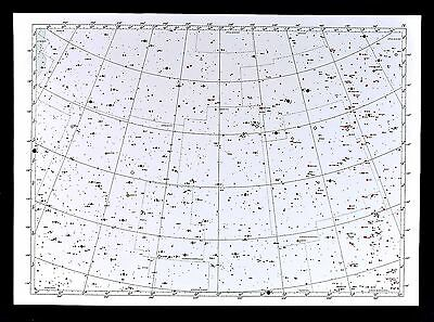 1950 Star Map Chart Hercules Bootes Canes Venatici Constellation Universe 16x23