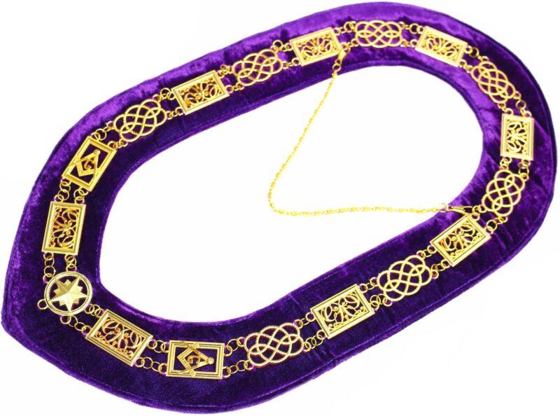 Masonic Collar GRAND LODGE - Chain Dress Purple Velvet Backing (DMR-100GP)