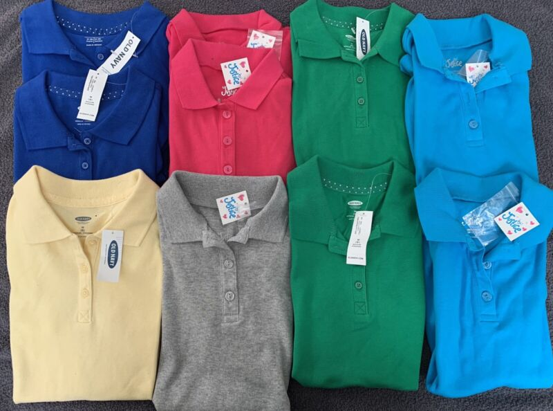 Lot Of 10 Girls Size 8 Polos New With Tags