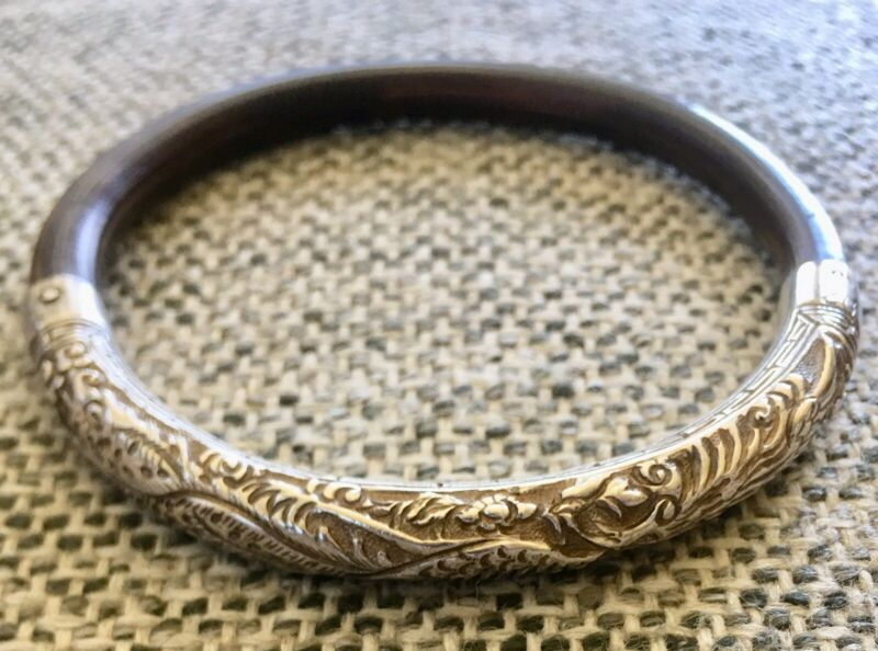 CHINESE Asian Large Rattan Carved 925 Silver Bangle - VG