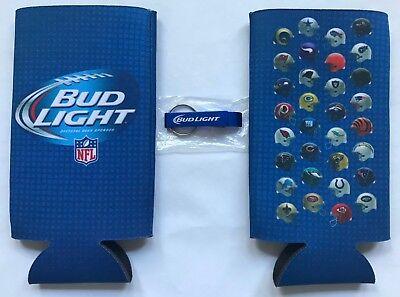 Bud Light Key Ring Bottle Opener AND 2 NFL Koozies Bottle Can Cooler - Key Bottle Opener Bulk