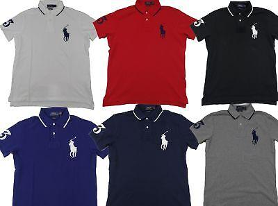 Polo Ralph Lauren Men's Big Pony Custom Fit Polo Shirt Cotton Mesh Short Sleeve Custom Fit Mesh Shorts