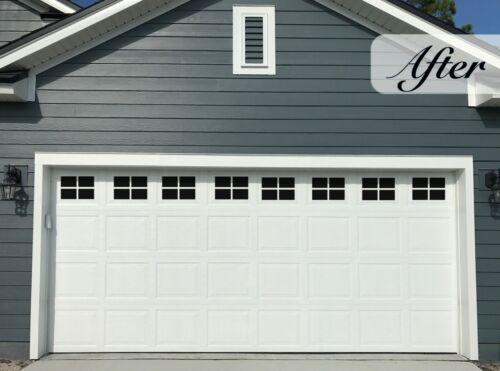 Magnetic Garage Door Windows, Decorative Black Window Decals for Two Car Garages