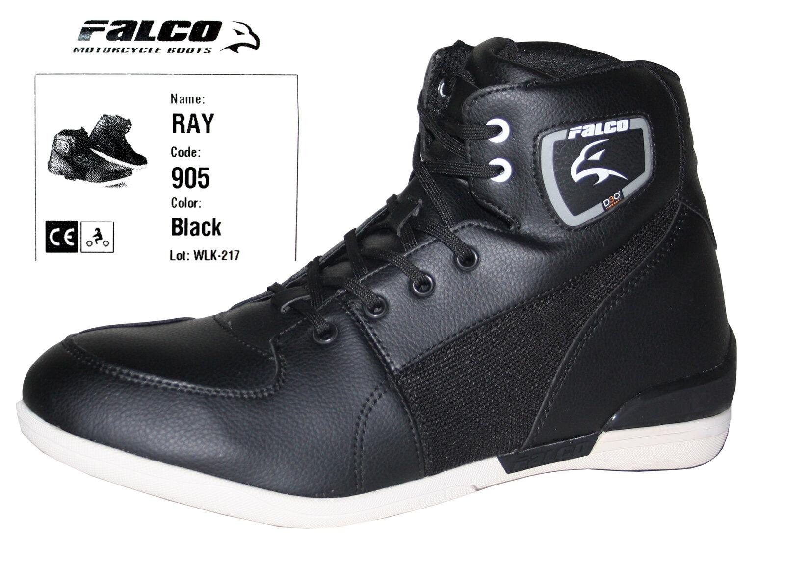 Falco Ray Motorradstiefel Schuhe Herren Kurzstiefel Stiefeletten Sneaker schwarz