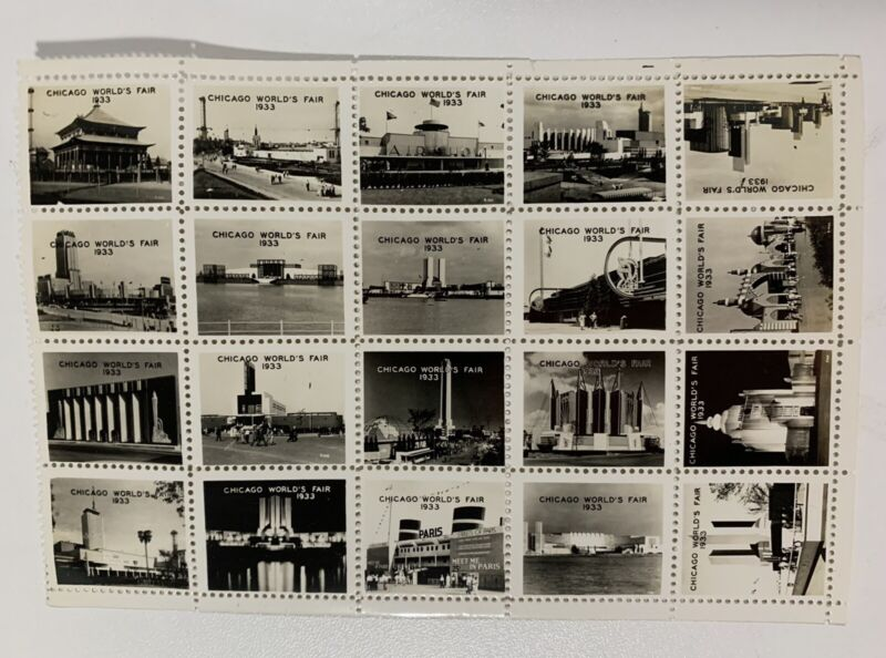 Sheet of 20 Souvenir Photo Stamps from 1933 Chicago World's Fair NIP