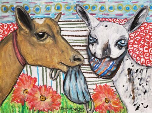 Goat Collectible Art Print 4x6 Nigerian Dwarf Quarantine by Artist KSams Masks