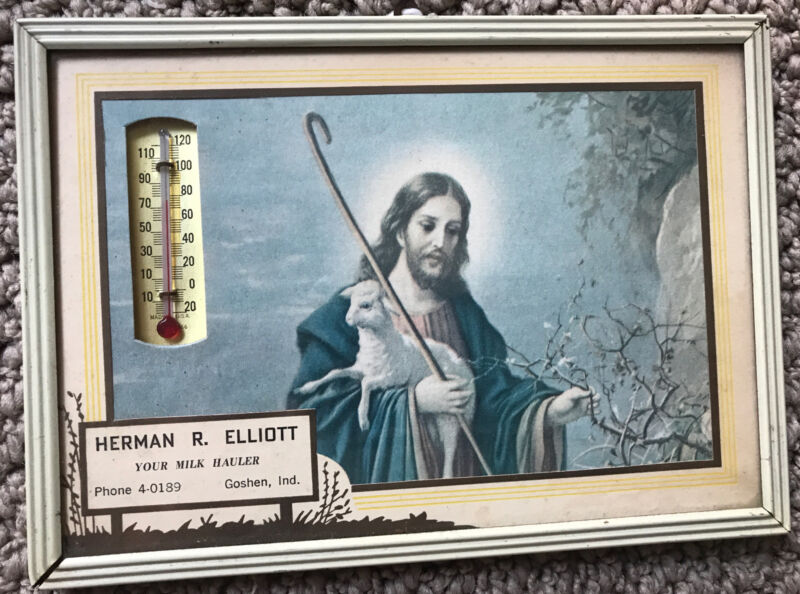 """Vintage Religious Framed Thermometer Jesus With Lamb - Goshen, IN - 5"""" x 7"""""""