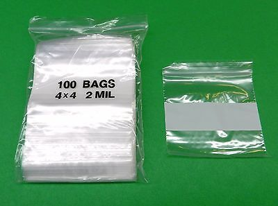 100 WHITE BLOCK 4x4 ZIP LOCK BAGS WITH WRITEABLE 2Mil CLEAR POLY 4