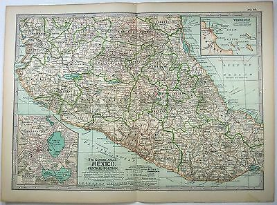 Original 1902 Map of Central Mexico by The Century Company