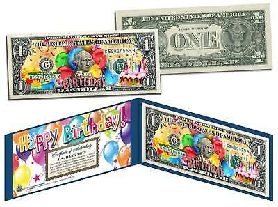 HAPPY BIRTHDAY Keepsake Gift Colorized $1 Bill U.S. Genuine Legal Tender w/Folio (Happy Birthday Keepsake)